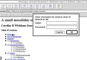 Image of Internet Archaeology captured from Netscape